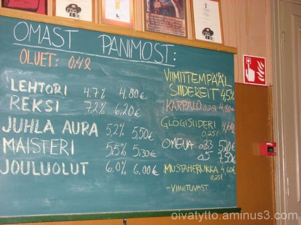 The school's restaurant price list!