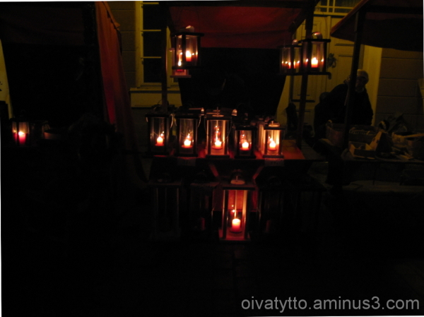 Lanterns create a light into the dark of the night