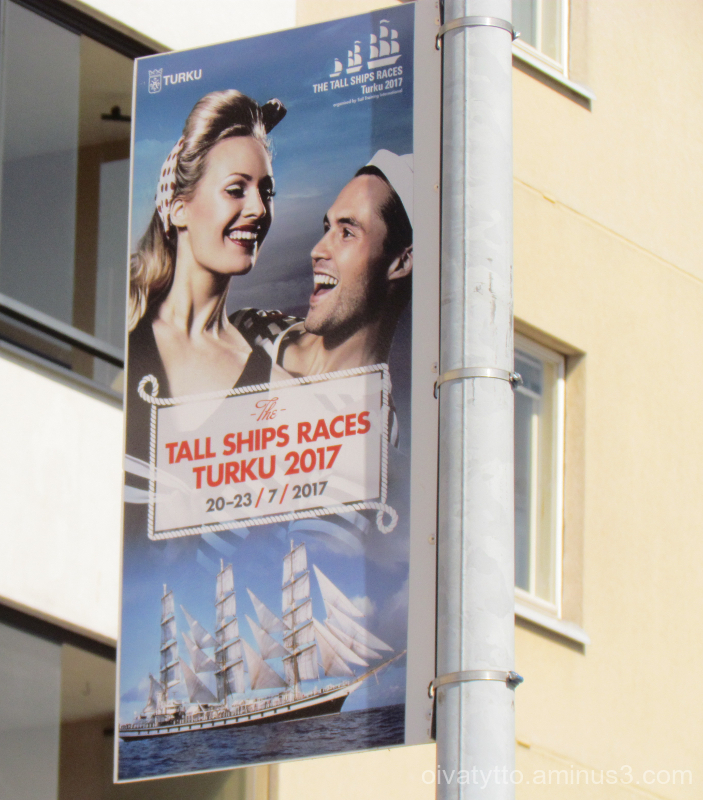 Large sailing ships arrive in Turku in July.