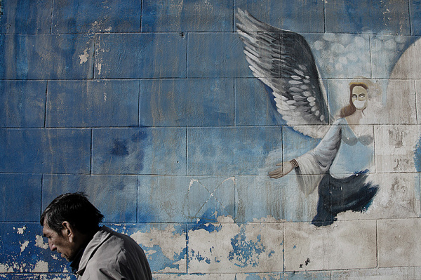 angel and human(wall painting and human 1/3)