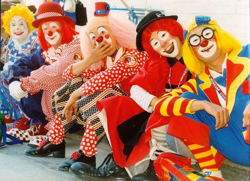 clowns resting after the parade