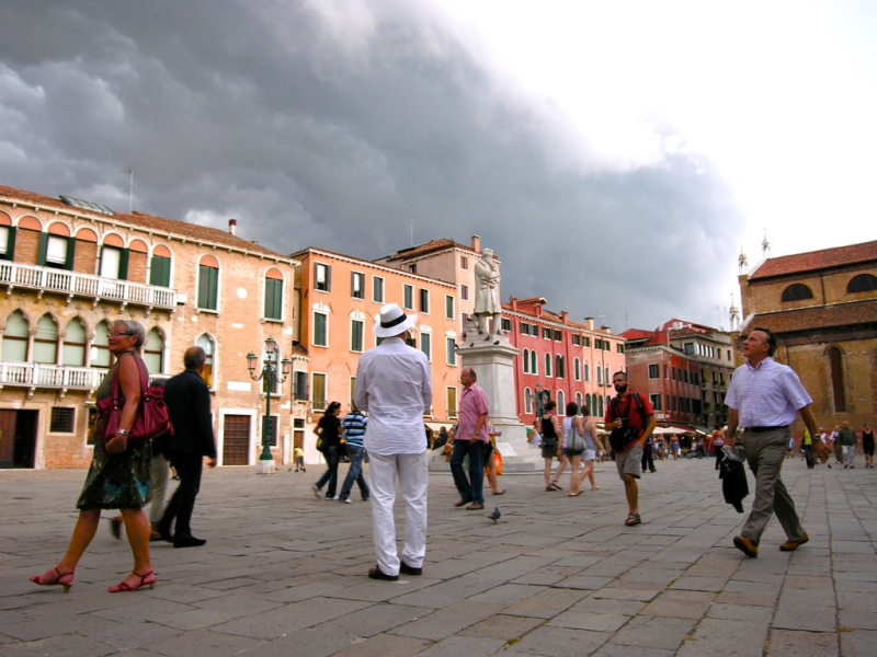 clouds forming over venice