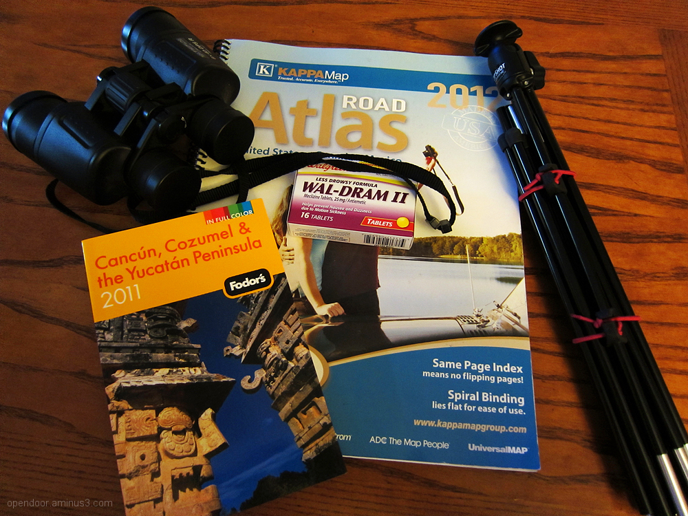 Travel, guides, vacations, binoculars, atlas, maps