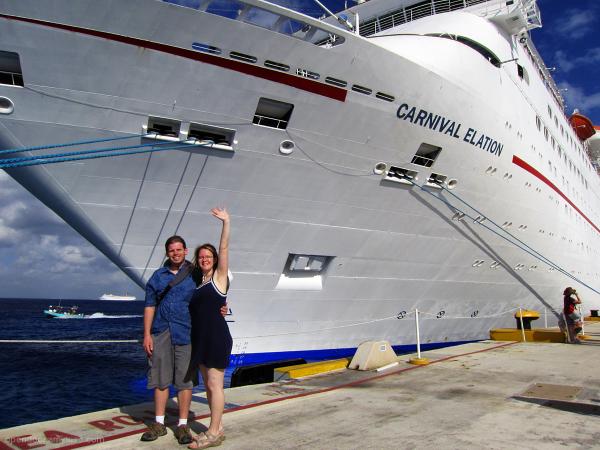 Cruise ship, Cozumel, tourists waving.