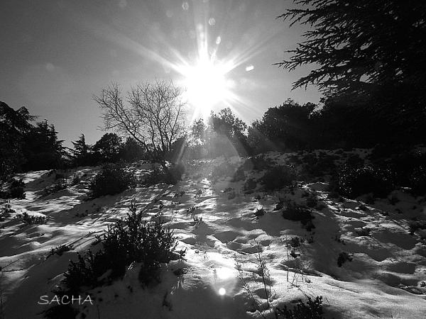 Coucher de soleil sur la neige