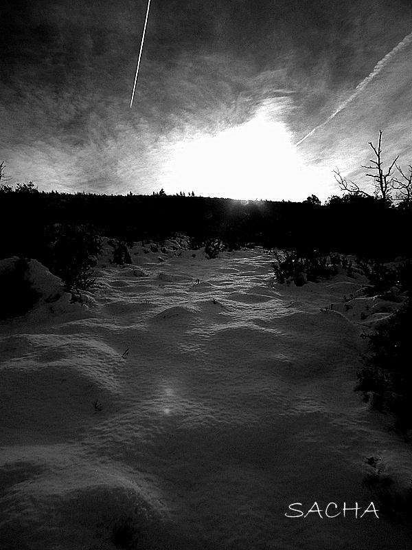 """Coucher de soleil sur la neige """" Luberon """""""