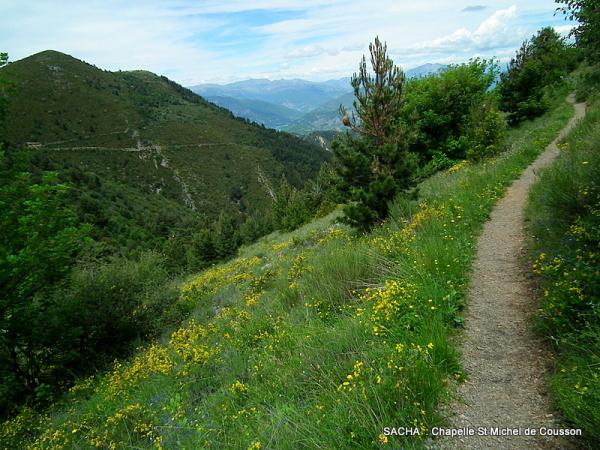 Sentier  du mont Cousson ; mont visible  à gauche
