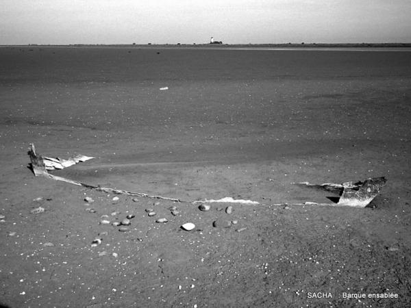 Barque ensablée plage  de la Comtesse