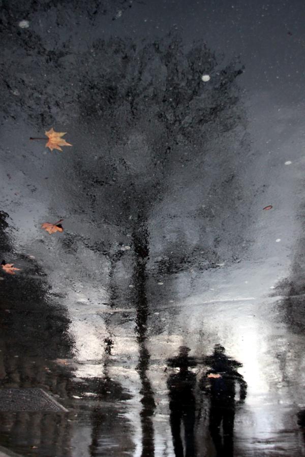 Pluie Paris reflet ombre rue