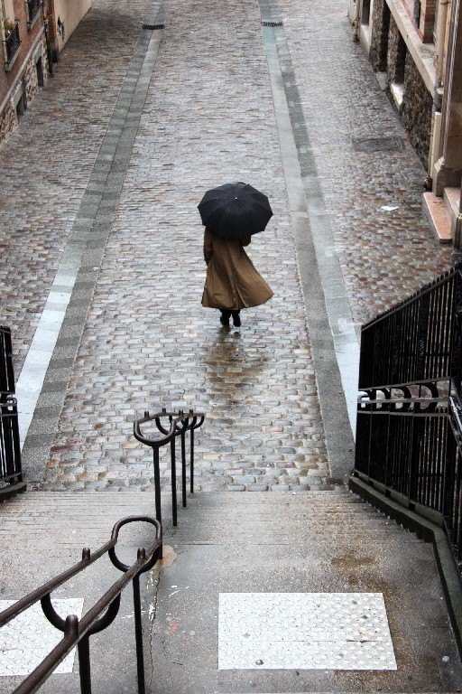 pluie, paris, rue, parapluie, escalier