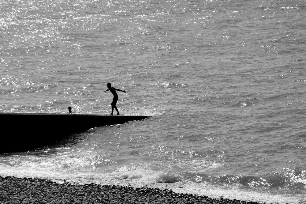 ailleurs mer plage noir-blanc silhouette