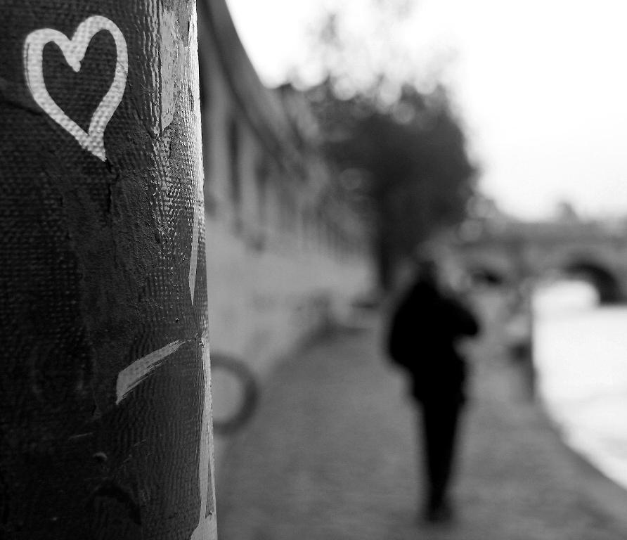 paris quai-de-seine coeur silhouette noir-blanc