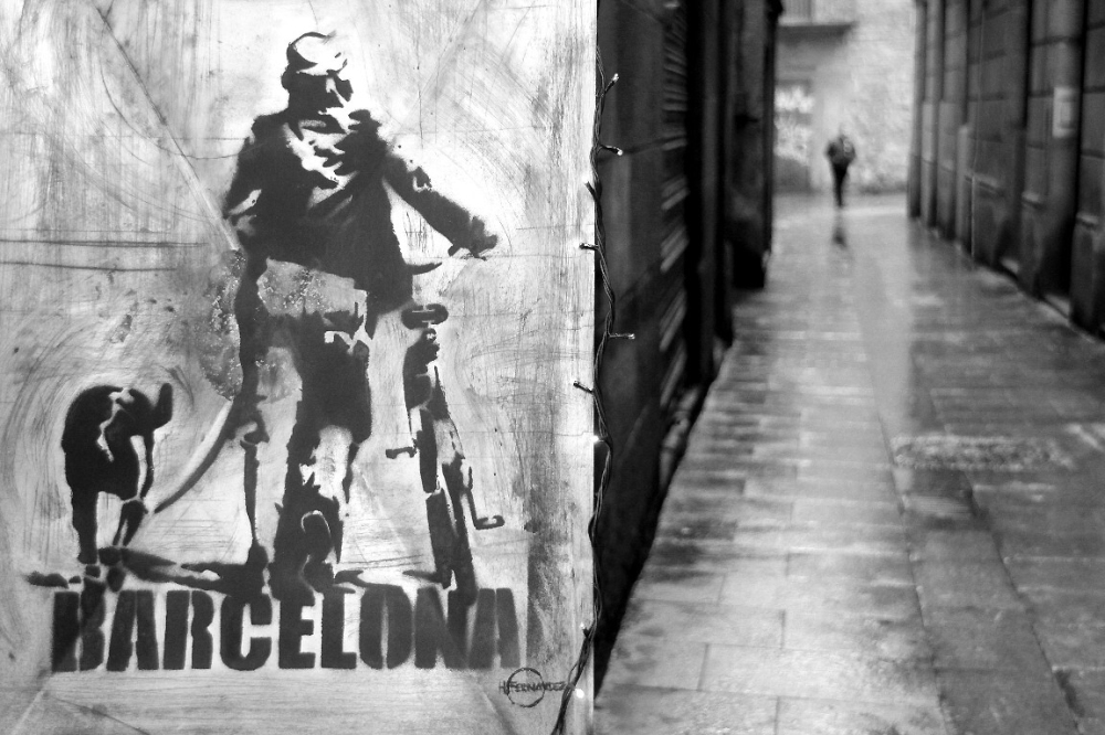 ailleurs barcelone noir-blanc rue art-urbain