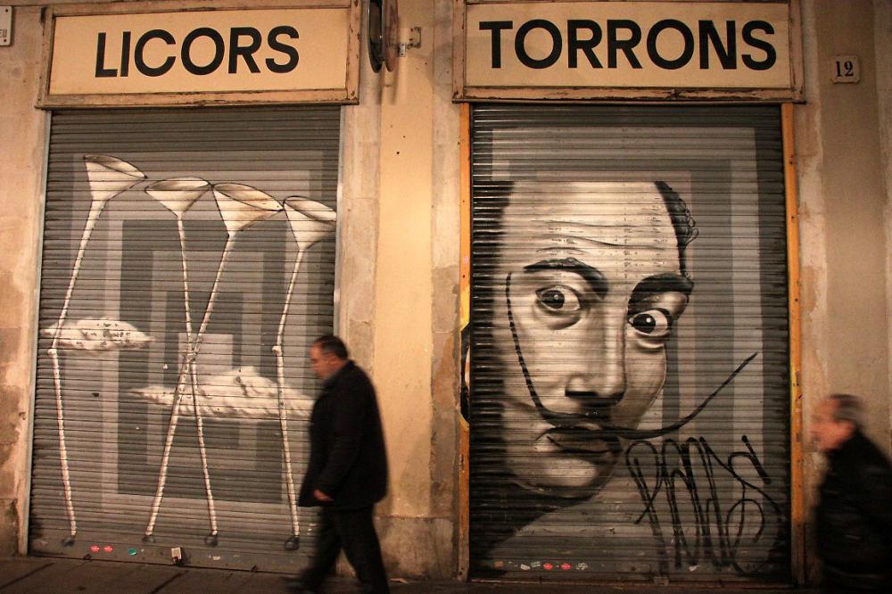 ailleurs barcelone nuit rue art-urbain devanture