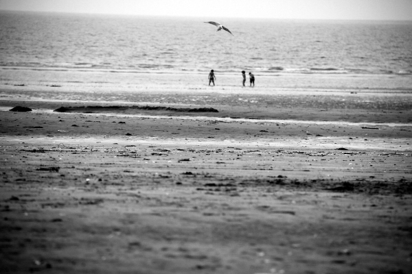 ailleur Normandie plage mer noir-blanc