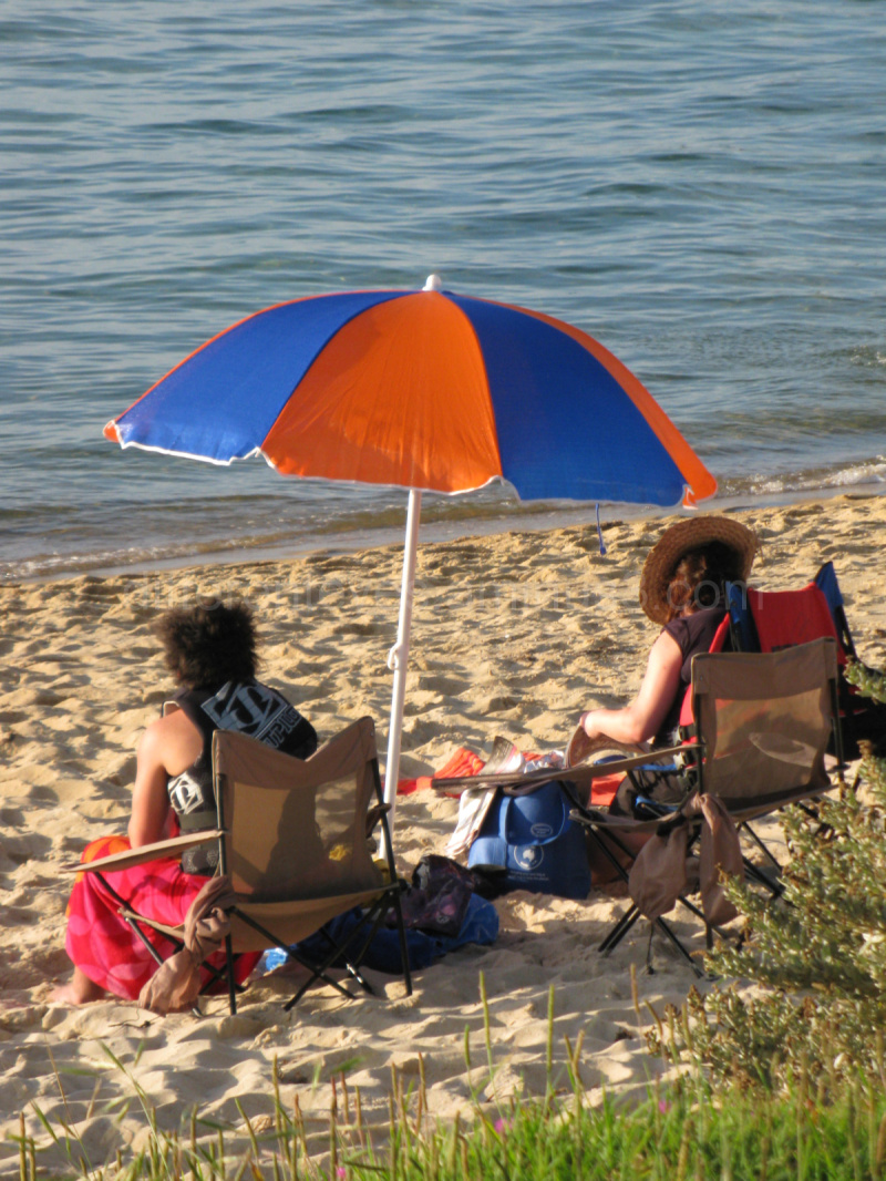 An umbrella and people on Dromana beach