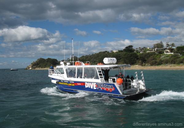 Dive Victoria boat leaving Portsea pier