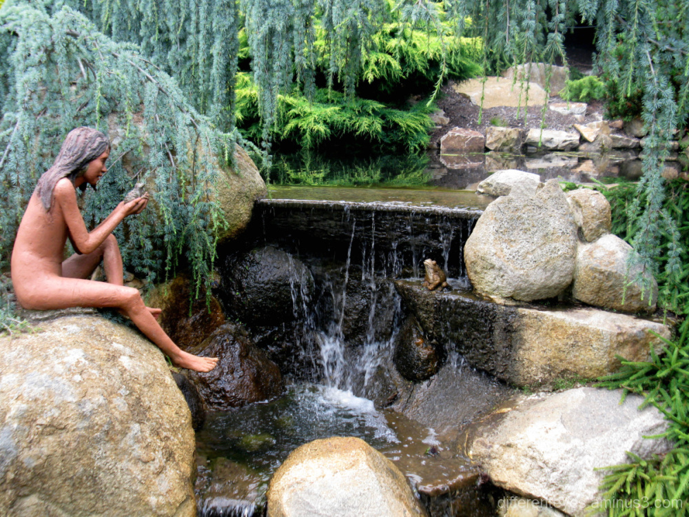 Water feature at the Enchanted Maze Garden