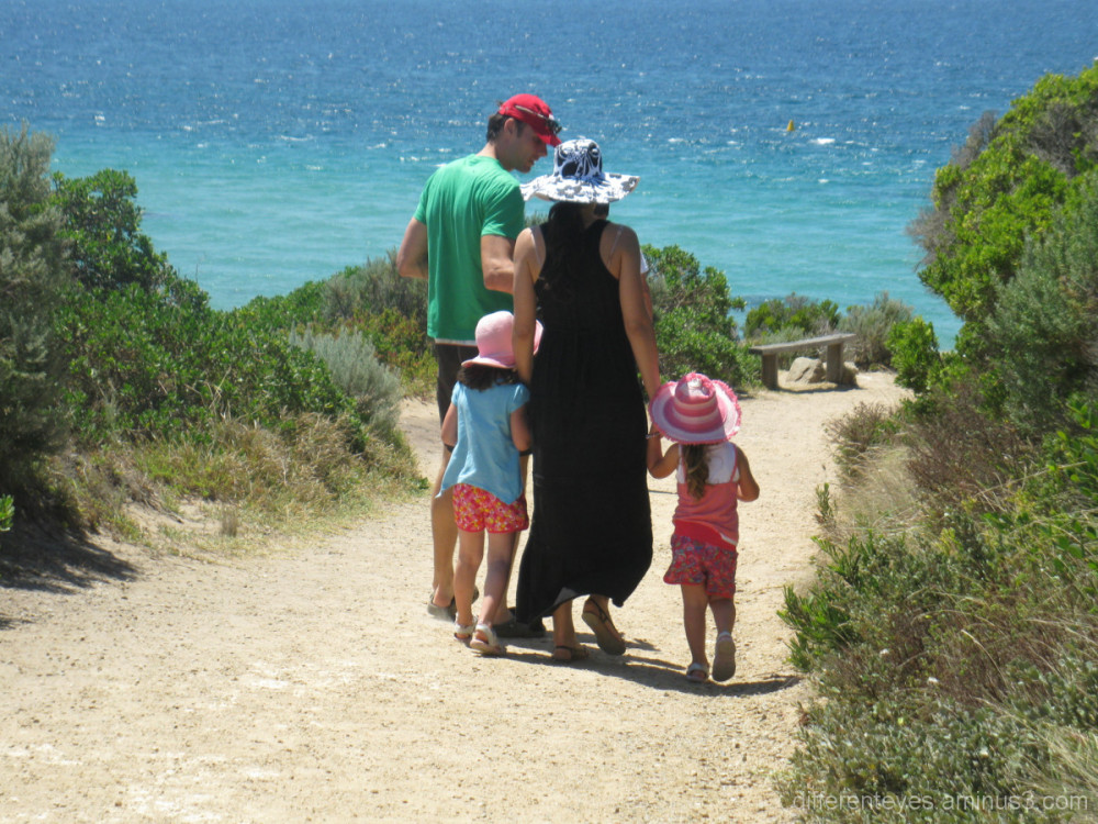 Family walking by Point Nepean waters