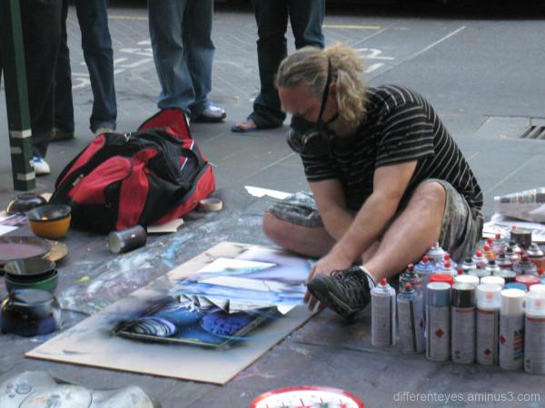 Street artist in Swanston Street, Melbourne