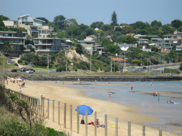 Frankston beach with houses on Oliver's Hill
