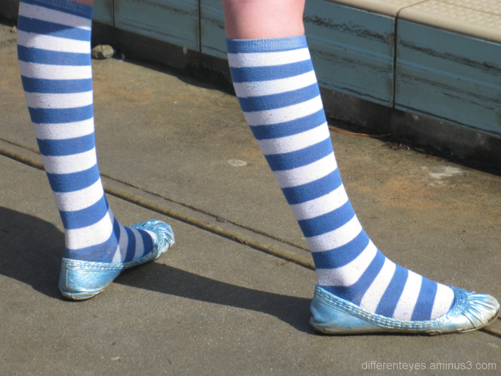 stripey blue socks and shoes