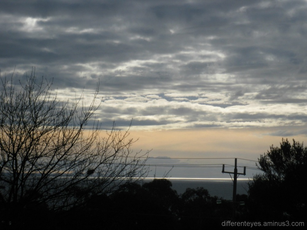 silvered morning skies and seas in Dromana