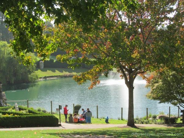 autumn view of the Enchanted Maze Garden lake