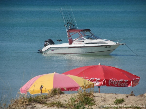 umbrellas and boat at Dromana beach