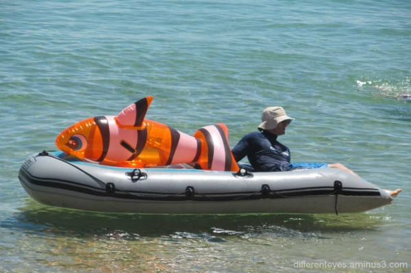 man in a boat with a fish near Dromana beach