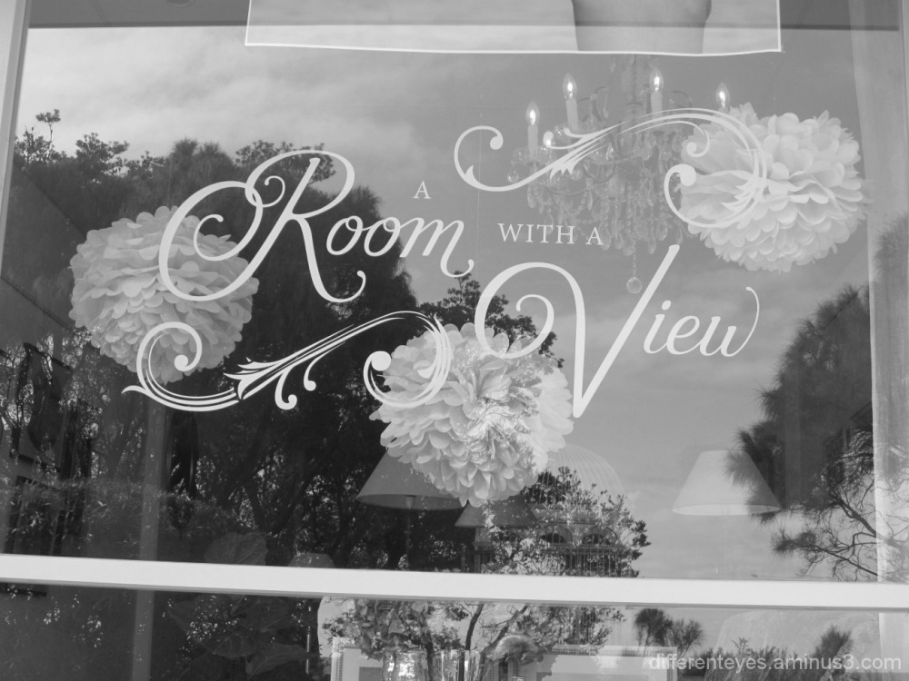 Dromana shop window in black and white