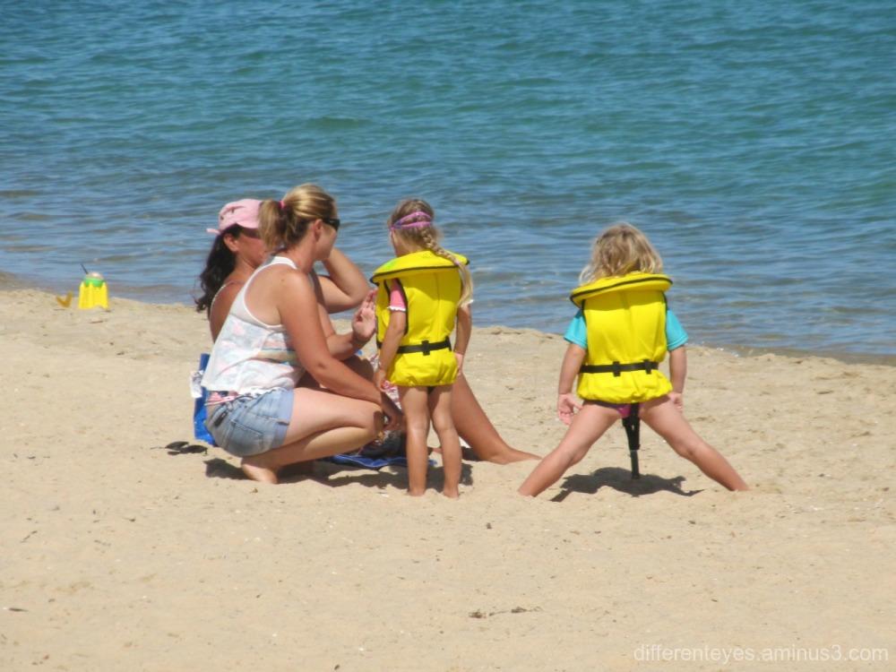 children preparing for water skills