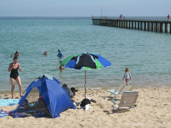 people on Dromana beach