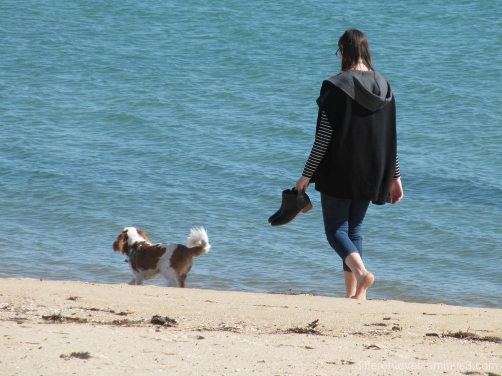 womanand dog on Dromana beach