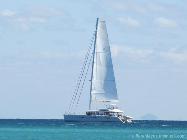 boat passing Dromana beach