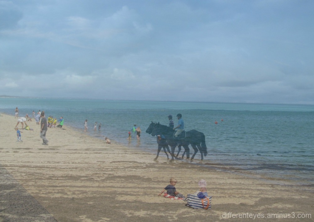 collage of riders at the beach