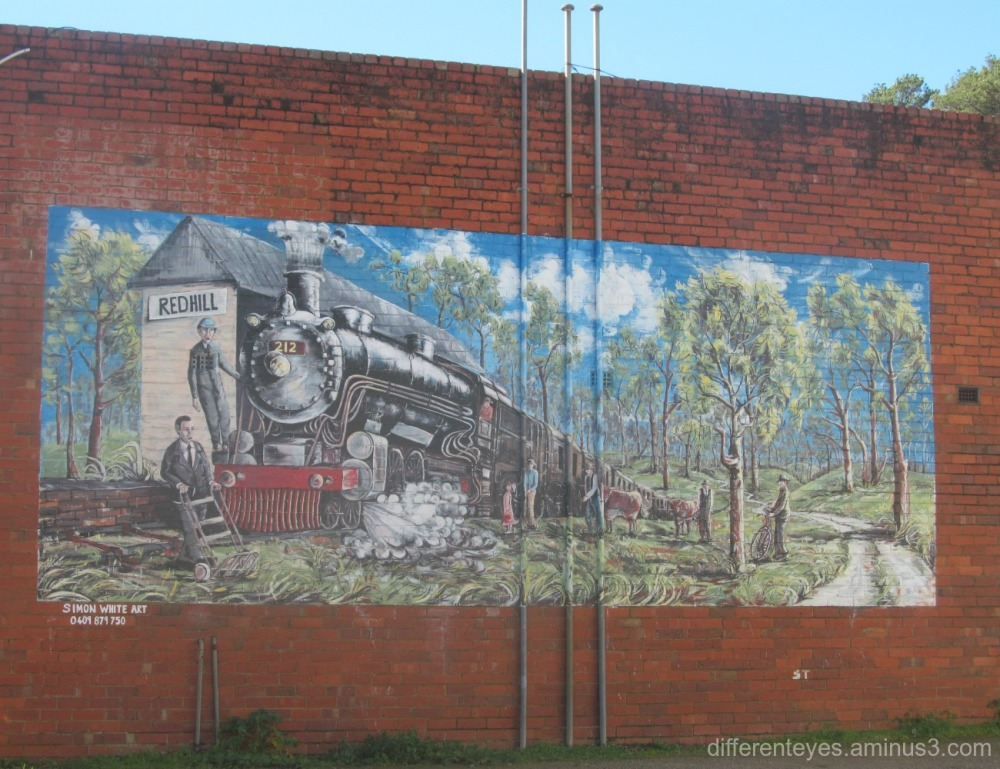 train mural at Red Hill by Simon White