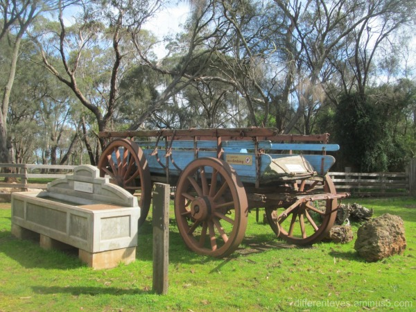 Churchill Island Heritage Farm wagon +water trough