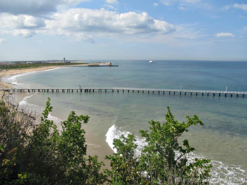 view from Queenscliff of piers