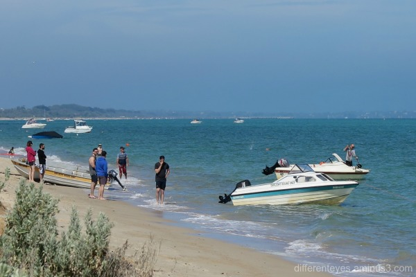 People and boats at Dromana beach