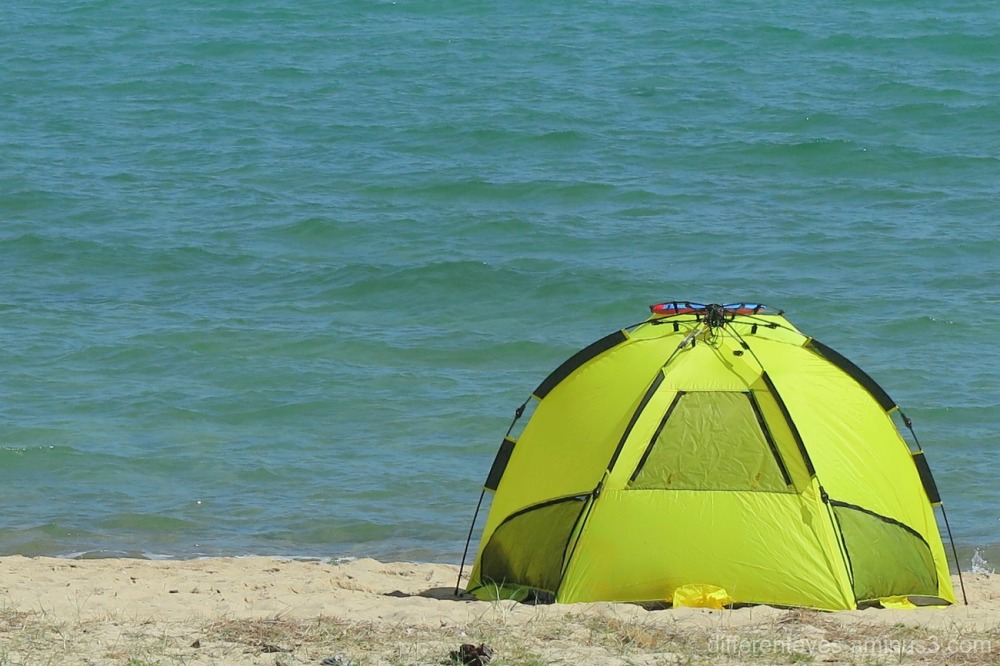 Tent on a summery Dromana beach