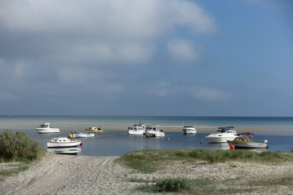 boats offshore from Rosebud beach