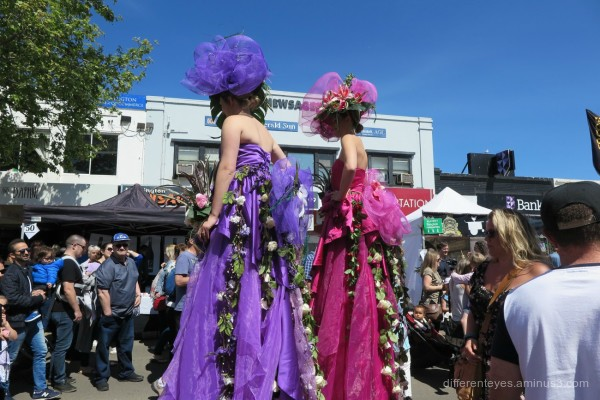 women on stilts at Mornington Spring Festival