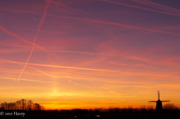 zonsondergang sunset polder