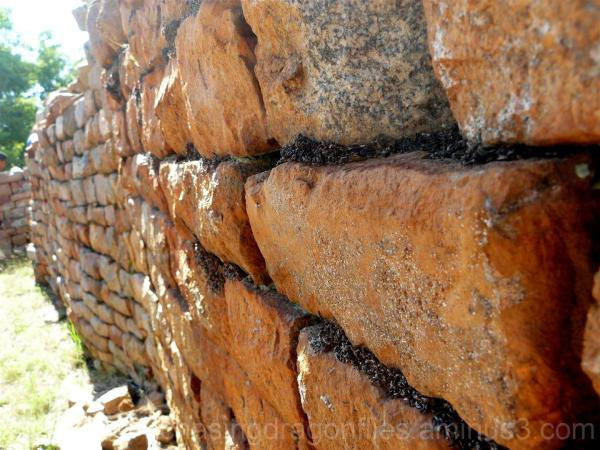 perspective of old stone wall