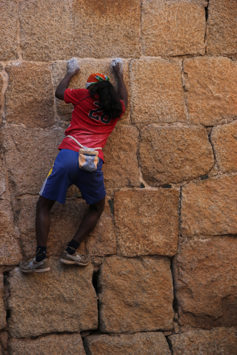 Indian Spiderman Climbing the Fort Wall