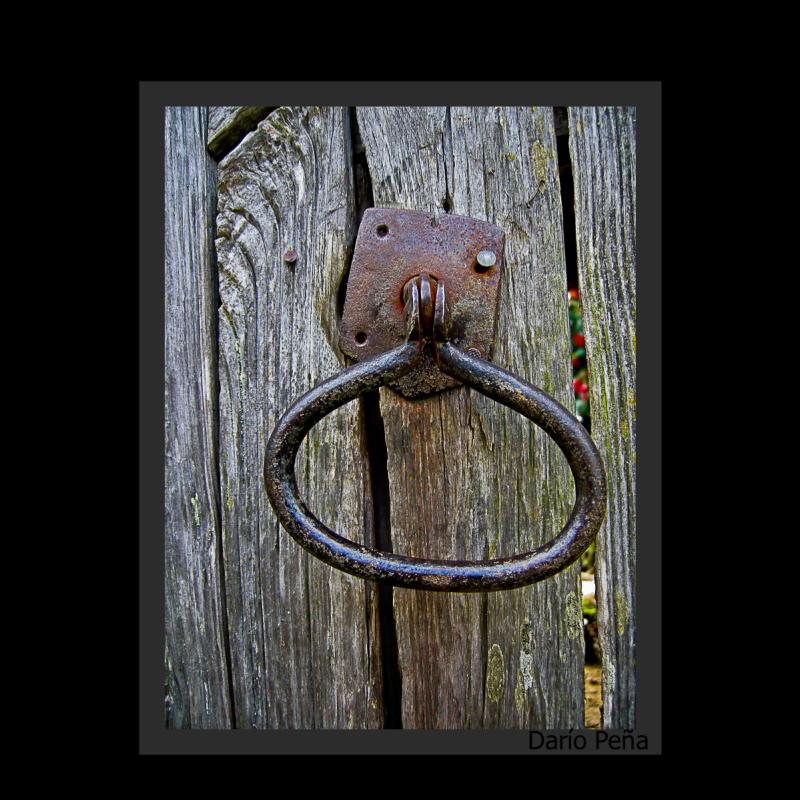 Door handle from a rural landscape