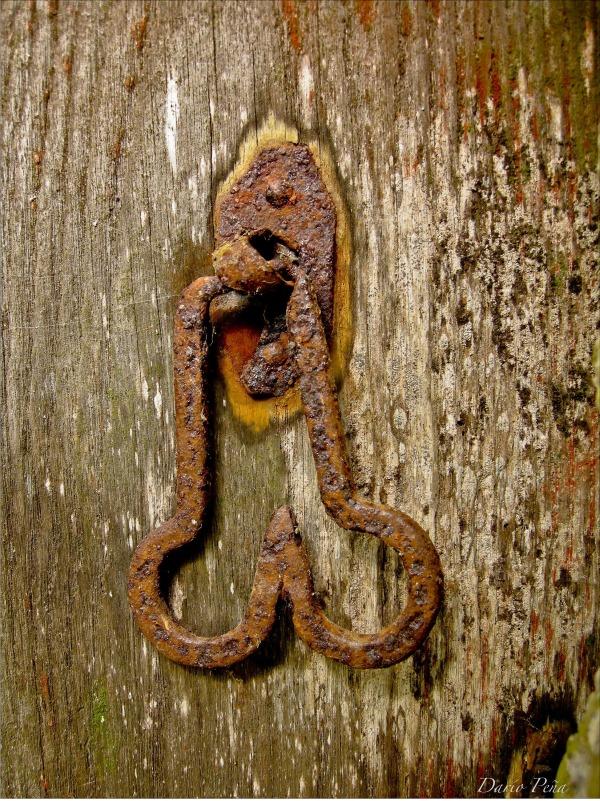 Door handle rural landscape Galicia