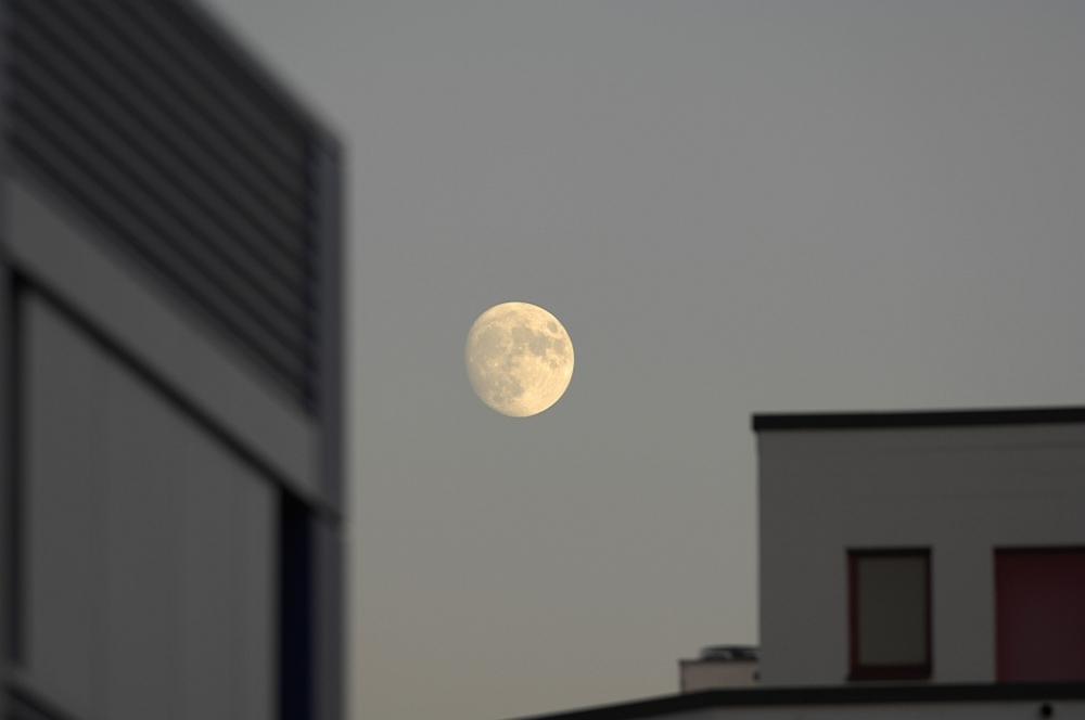 Mond zwischen den Häusern