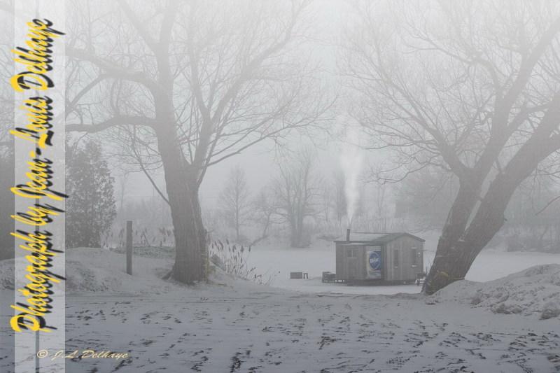 Misty ice fishing